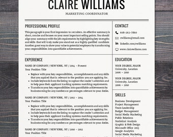 resume cv template free cover letter instant download mac or pc for - Free Modern Resume Templates For Word