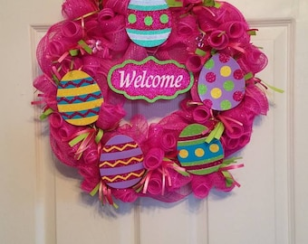Easter Deco Mesh Wreath With wooden eggs and welcome sign . Made and ready to ship