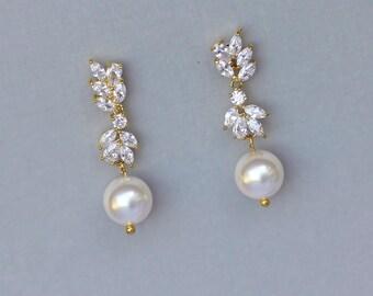 Gold Bridal Earrings, Pearl Drop Earrings, Crystal Chandelier Earrings, Crystal Bridal Jewelry, GOLD Wedding Earrings,ANNIE G