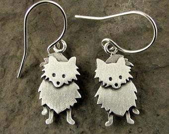 Tiny Pomeranian earrings