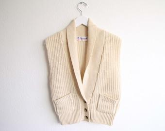 VINTAGE Sweater Cardigan Sleeveless Cream Knit Top Womens Small