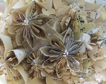 Sheet Music or Book Page Bridal Bouquet plus Lapel Flower