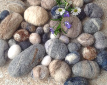 Wool pebbles, felt pebbles, 30 Soft, small, Felted WOOL PEBBLES, Contemporary Home Decoration Felt pebbles, beach pebbles, river rocks,