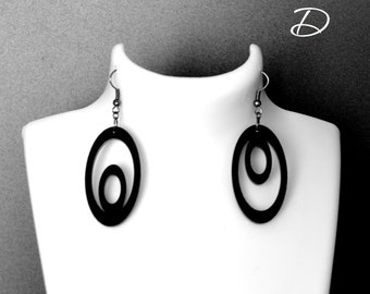 "Earrings black "" Rings asymmetric"",  earrings black gift , Geometric earrings ,  mismatched earrings , asymmetrical earrings"