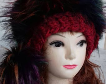 Super Bulky Beanie with Black Faux Fur Brim and 2 remouvable Pom-pom/ Crochet Hat, Beanie Hat in Red -Burgundy, Women's Hat, Medium Size
