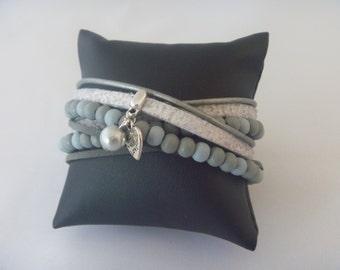 Lightgrey/darkgrey/lightblue wrap bracelet