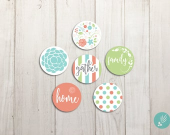 Cute Magnets, Fridge Magnets, Farmhouse Kitchen Decor, Refrigerator Magnets, Gather Family Home Set of Magnets Metal Magnets, Flower Magnets