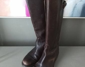 Vintage Boots - Brown Leather Knee High Boots - Tall Riding Boots- Equestrian Boots