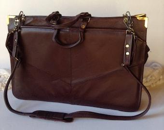 Vintage Genuine Leather Briefcase / Attaché / Bookbag / Perfect Gift