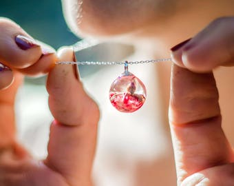 Real flower round ball pendant pink rose in resin necklace Rosebud pendant. Rose jewelry. Summer jewelry pendant Necklace dried rose pendant