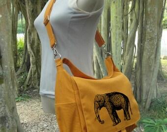 Golden canvas messenger bag for women, shoulder bag for girls, cool school bag, travel bag with custom screen print