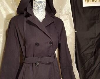 Gaberdine/all weather waterproof/ preloved vintage winter warm lined  school coat