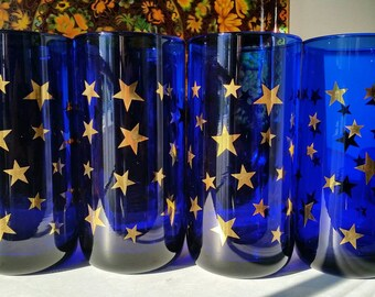 Set of 4 Libbey Cobalt and Gold Tumblers - Glasses