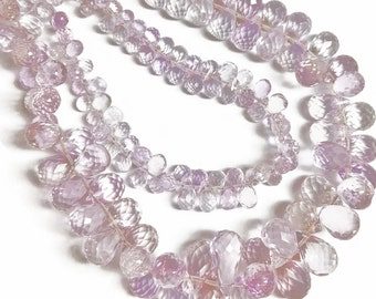 Light pink amethyst micro-faceted teardrops.  Select a size: 3x4.25mm - 5.5x11mm