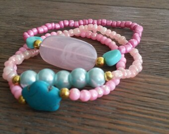 Cute set of 3 bracelets summer bracelets pink bracelets peach bracelets