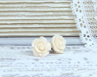 Peach Rose Earrings Small Rose Earrings Rose Stud Earrings Peach Flower Earrings Surgical Steel Studs