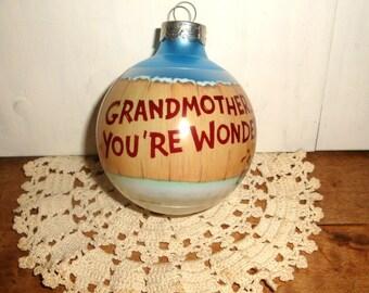 Vintage Grandma Christmas Ornament, Grandmother You're Wonderful, Hallmark, Holiday Decor, Christmas Decoration, Ball, Blue, 1990