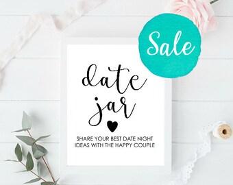 Date Jar Sign, Date Night Jar, Date Night Sign, Date Night Ideas, Date Ideas, Date Night Sign, Date Sign, Wedding Sign, Wedding Printables