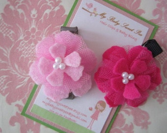 Girl hair clips - flower hair hair clips - girl barrettes
