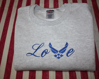 Embroidered Air Force Wings LOVE Sweatshirt  (New)  made to order