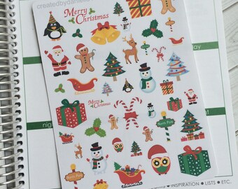 Tis the Season Christmas Planner Stickers, Holiday Planner Stickers, December Planner Stickers, set of 45