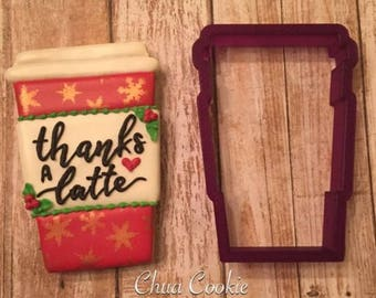 Coffee, Latte, Cup of Joe Cookie Cutter and Fondant Cutter and Clay Cutter
