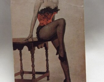 Vintage Marilyn Monroe Postcard - Burlesque - Marilyn in red and black corset