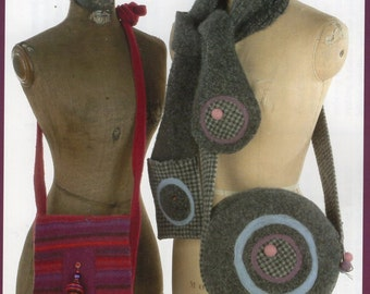 Indygo Junction IJ752 Purse Tote Hand Bag Handbag Wild & Wooly Sweater Bags Recycle!! Uncut Sewing Pattern Free Us Ship  2006 Made from old