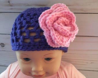 Baby Girl Crochet Hat, Baby Girl Hat, Crochet Baby Girl Flower Hat, Newborn Hats, Bring Home Outfits,Hospital Baby Hats, Newborn Girl Gift