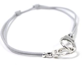 Silver cuff bracelet gray cord