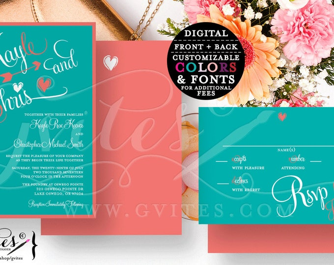 Teal and Coral Wedding Invitation Set, Double Sided Wedding Invite plus response card, Printable, Digital, DIY, Gvites.