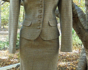 Tweed  wool suit vintage brown gray puff sleeve  country  40s style Saks 5th Avenue small from vintage opulence on Etsy