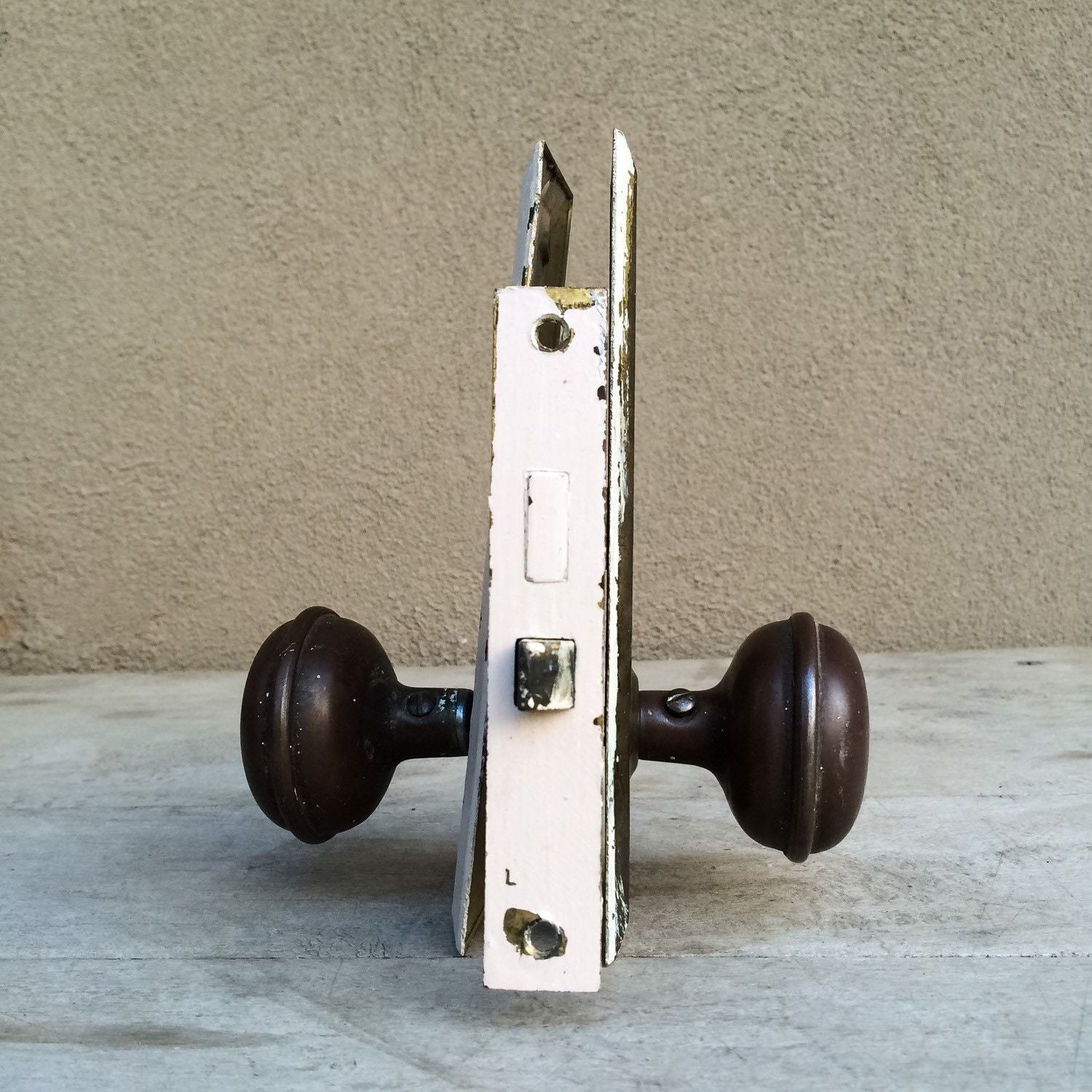 1930s brass door knob set with plates and lock, industrial hardware ...