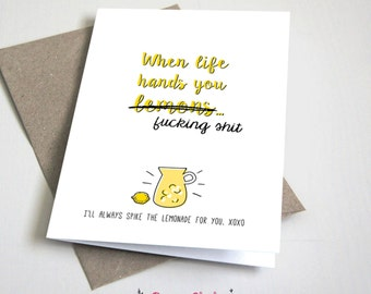 When life hands you lemons CARD / Funny / Sympathy Card / Adult / Yellow and Black / 5x7 Folded Card – Printable DIY, Instant Download