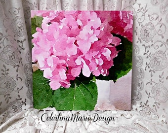 Large Pink Hydrangea Canvas Watercolor, Hand Created and Printed from my Original Photo Art, Wall Decor, Frameless Designer Decor, ECS
