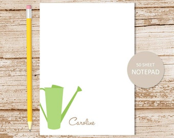personalized gardener notepad . watering can note pad . personalized stationery . stationary . sprinkling can . gardening notepad