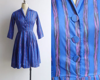 Vintage 50's 'Blue Jewel' Silky Striped Shirtwaist Dress XS