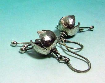 Small Sterling Silver Bell Flower Earrings, Argentium Earrings, Silver Flower Jewelry, Sterling Silver Earrings, Floral Earrings