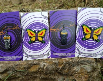WickedDreamCreations lost cocoon Found Butterfly collectable 1.5 inch pins.  lost and found joker card inspired cocoon /butterfly pins