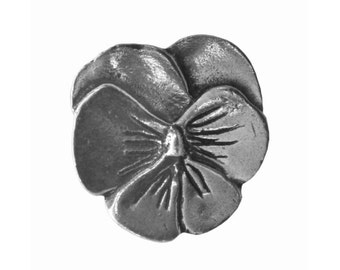 Danforth Small Pansy 3/4 inch ( 18 mm ) Pewter Shank Button