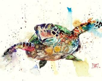 SEA TURTLE Watercolor Art Print by Dean Crouser