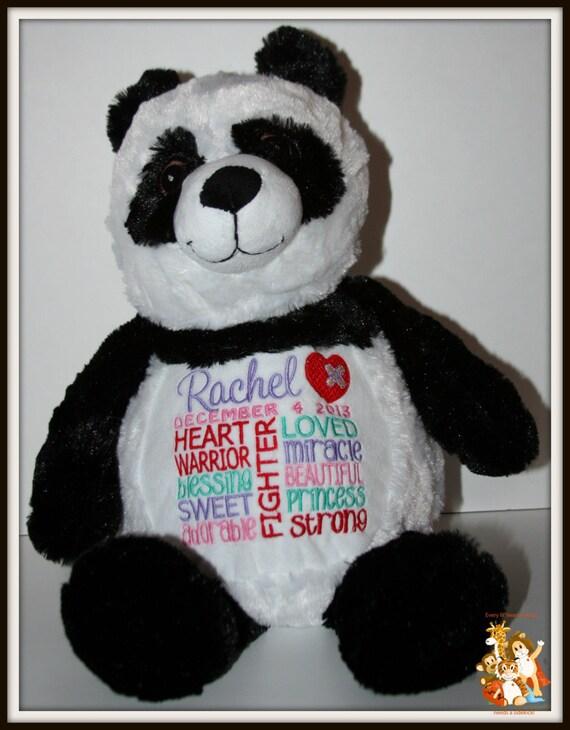 CHD personalized Panda Warrior Pet, stuffed animal