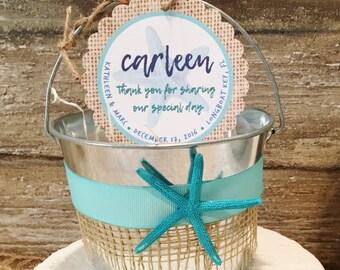 Beach Wedding Sand Pail Favors, Destination Wedding Favor Bags, Beach Wedding Gift Basket, Personalized Favor Tags, Galvanized Bucket