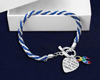 Autism Ribbon Rope Bracelet (RE-B-02-2)