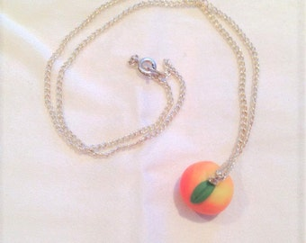 Pink peach pendant necklace