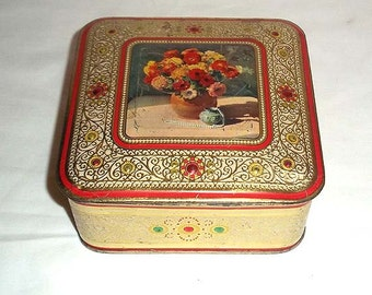 Pretty Vintage Tin with Flowers and Embossed Scrolling - Made in Holland - Great for Buttons, Sewing, Old Letters