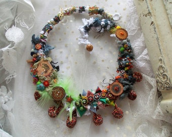 Love bird...crochet and beaded colorful fairy necklace, mori girl necklace, boho chic, vintage, textile necklace, fabric statement necklace.