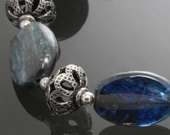 CLEARANCE. Dark Blue Kyanite Bracelet. Sterling Silver Beads. Genuine Gemstone. Adjustable Bracelet. Extender Chain. f13b007