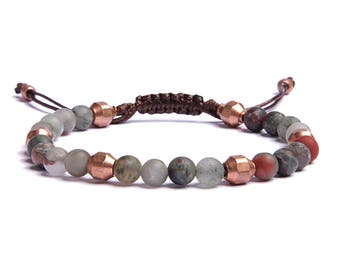 Men's Accessories - Green bloodstone bead bracelet for men with copper accent beads - Brown faux leather cord - Father's Day Gift idea.