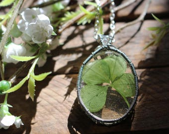 Four Leaf Clover Cabochon Wrapped in Silver Wire